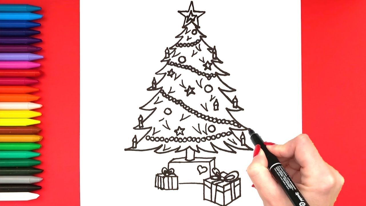 Christmas Tree Drawing How To Draw A Realistic Christmas Tree Simple Christmas Tree Drawing Tree Drawing Realistic Christmas Trees