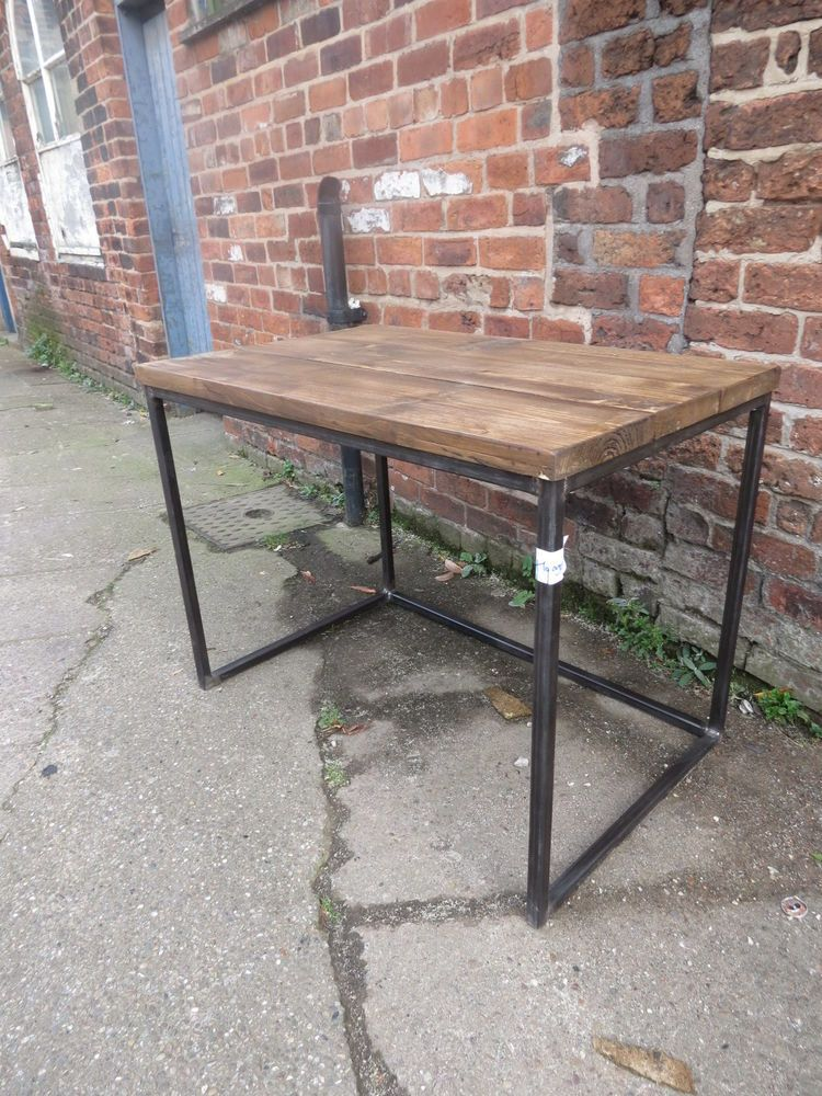 Reclaimed Industrial Chic Cube Wood & Metal Desk/ Dining Table.Bar,cafe,steel