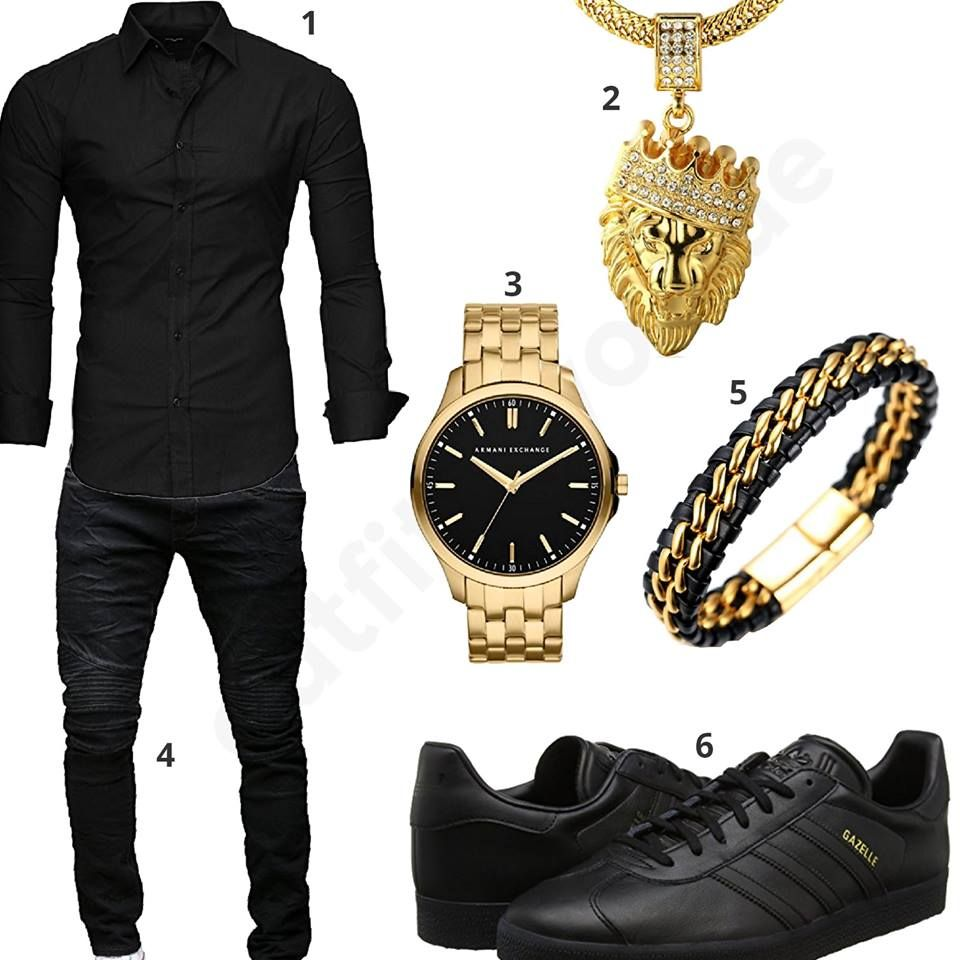 gold schwarzes herren outfit mit armani uhr m0462. Black Bedroom Furniture Sets. Home Design Ideas