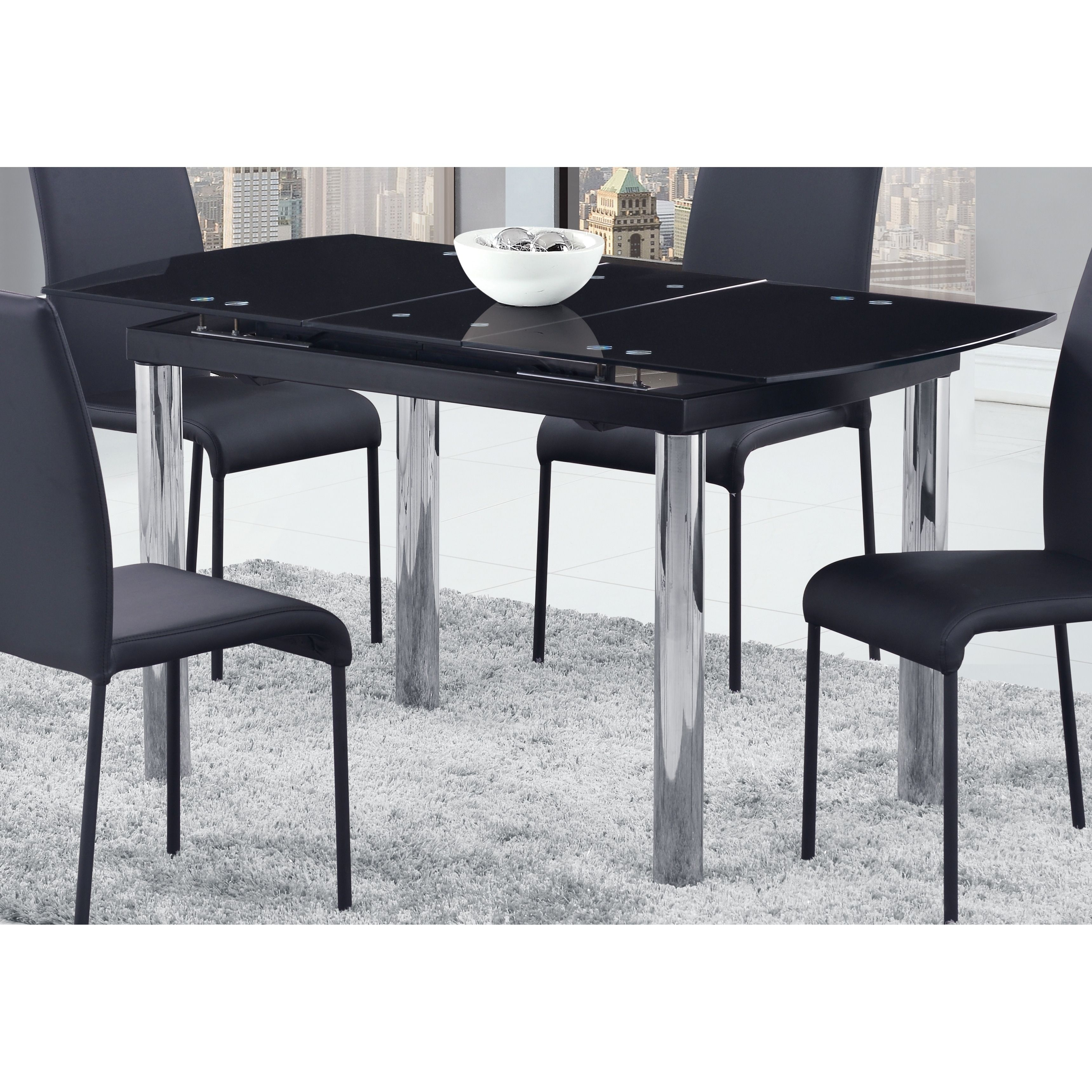 Global Furniture Blacksilver Glasschrome Dining Table  Black