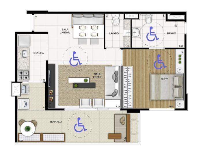 Plantas de casas adaptadas para cadeirantes Planos Pinterest