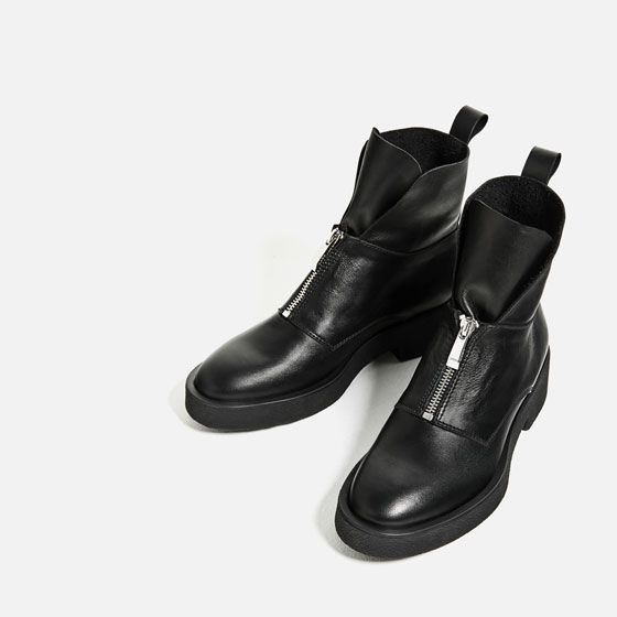Image 3 of LEATHER ANKLE BOOTS WITH ZIP from Zara