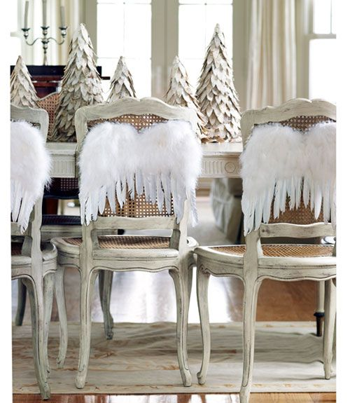 Angel wings for dining room chair decorations - pretty!