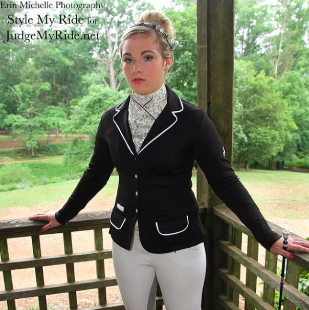 Lynnsay Sexton sports a Spooks navy washable show coat with white ...