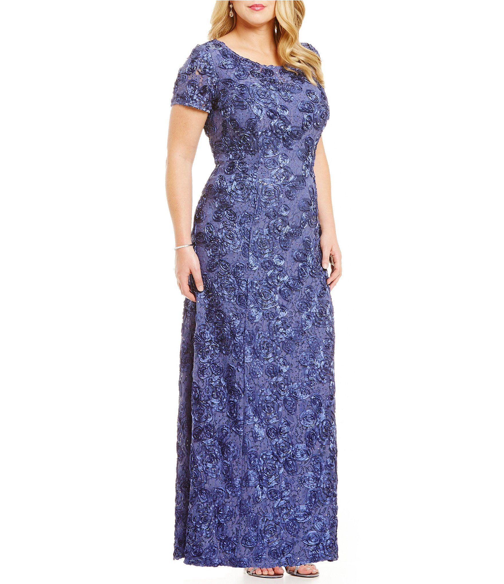 Alex Evenings Plus A-Line Rosette Gown | Costura