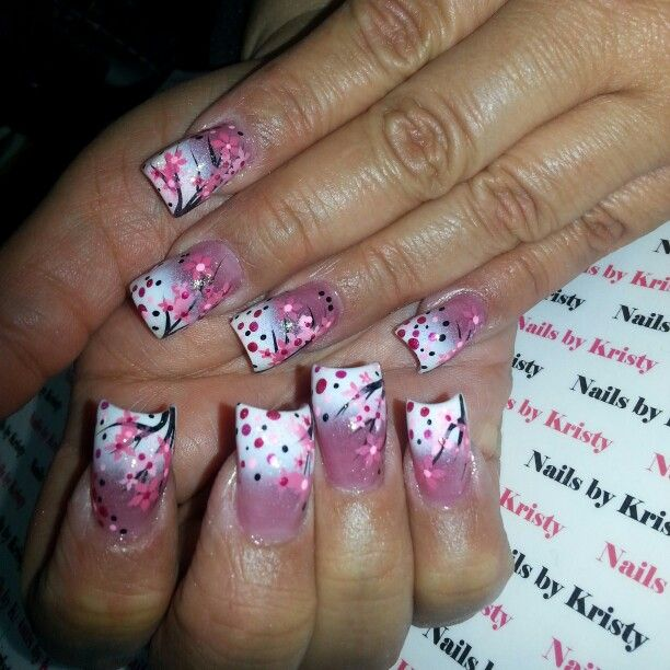 Nails Nailsbykristy Pureplatinumsalonandspa Acrylic Long C Cut Curved Hand Painted Nail Art Cherry Blossoms