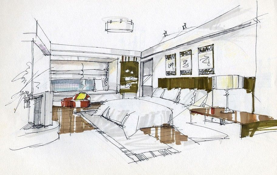 Bedroom Interior Design Sketches 3D House Free Wallpaper