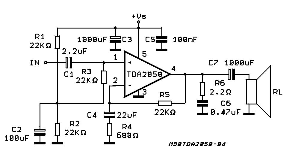 Circuito Amplificador De Audio : Amplificador tda esquema circuito de
