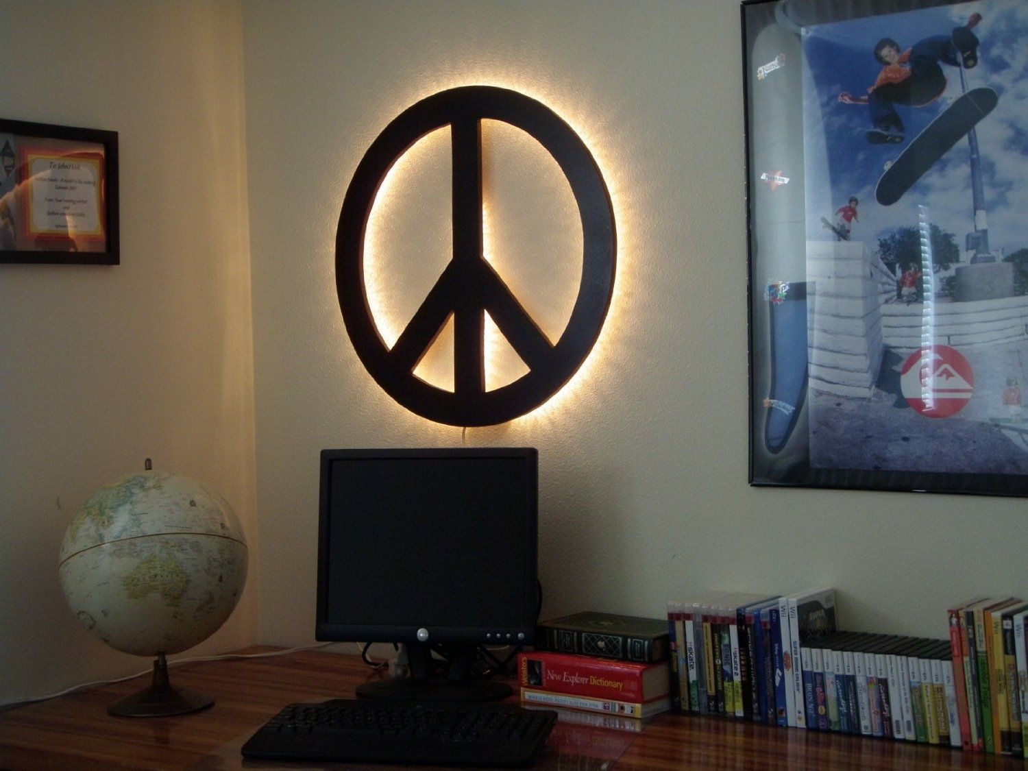 Peace Sign Wall Art Backlit Wood