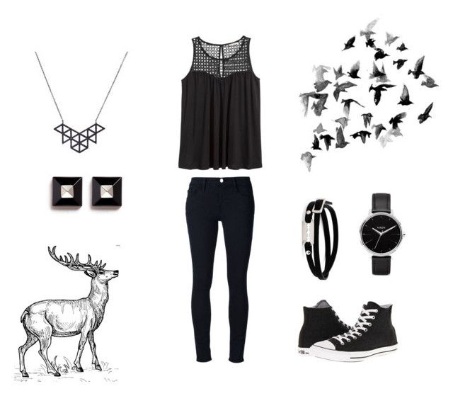 """""""Black birds and Stag"""" by liv-caleo ❤ liked on Polyvore featuring Frame Denim, H&M, Converse, Nixon, McQ by Alexander McQueen and Givenchy"""