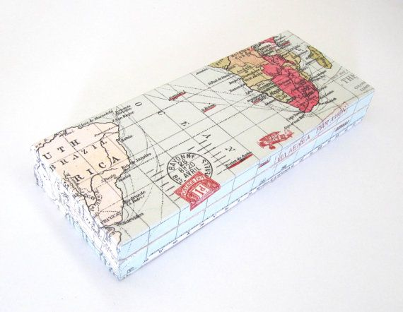 World map wooden pencils case with compartments, shabby chic decoupage pencils box , back to school , desk accessory , office organizer