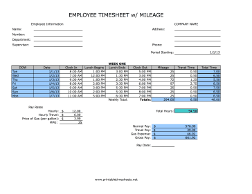 Weekly Timesheet With Mileage Printable Time Sheets Free To