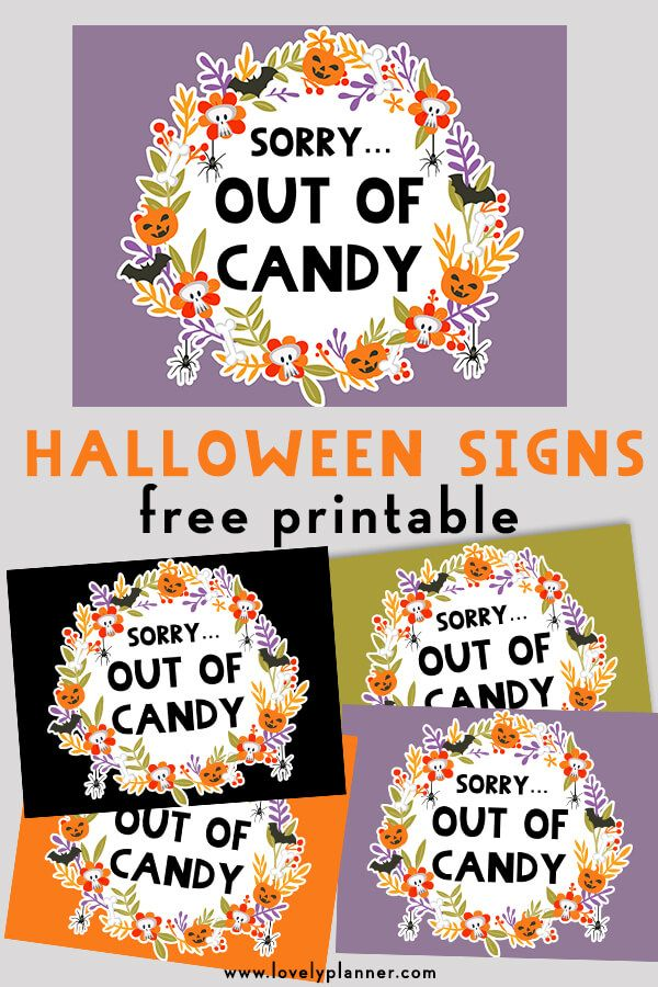 Free Printable Halloween Out of Candy Signs Happy halloween