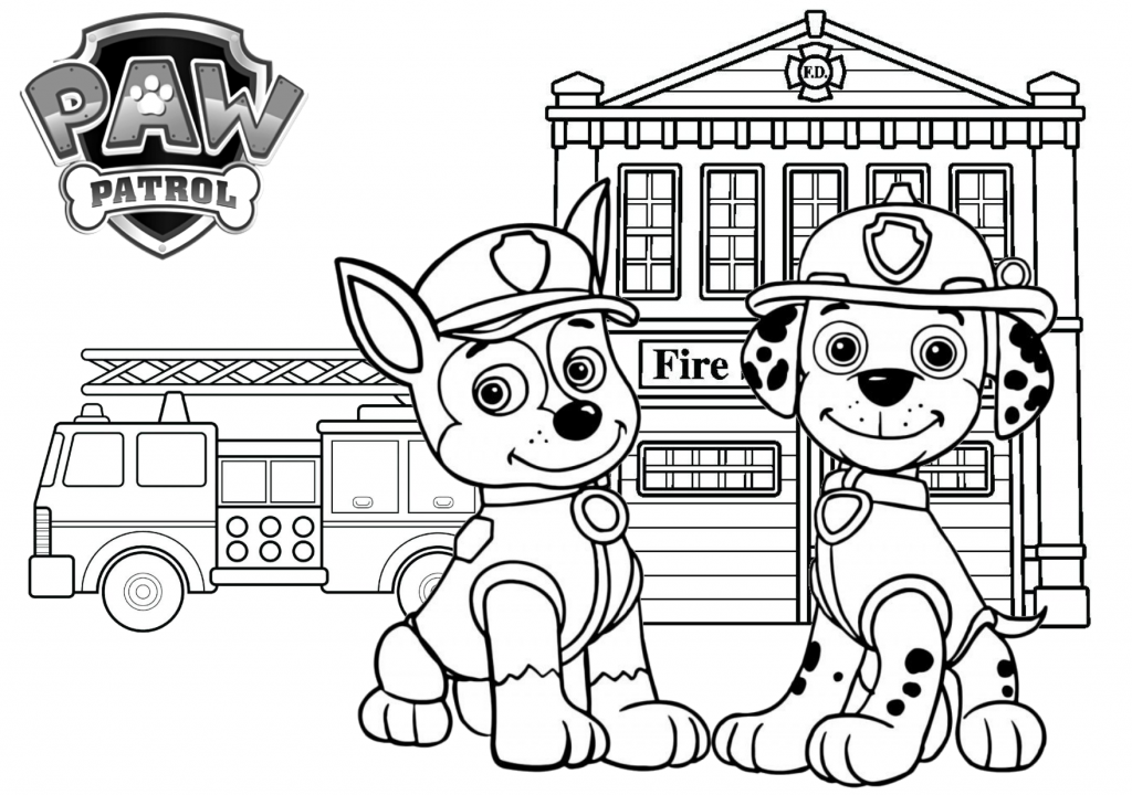 Paw Patrol Fire Station Printable Coloring Page On Tsgos Com Truck Coloring Pages Firetruck Coloring Page Coloring Pages