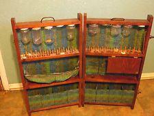 Vintage Folding  Sewing Cabinet Case Wood Box  Station Primitive Folk Green