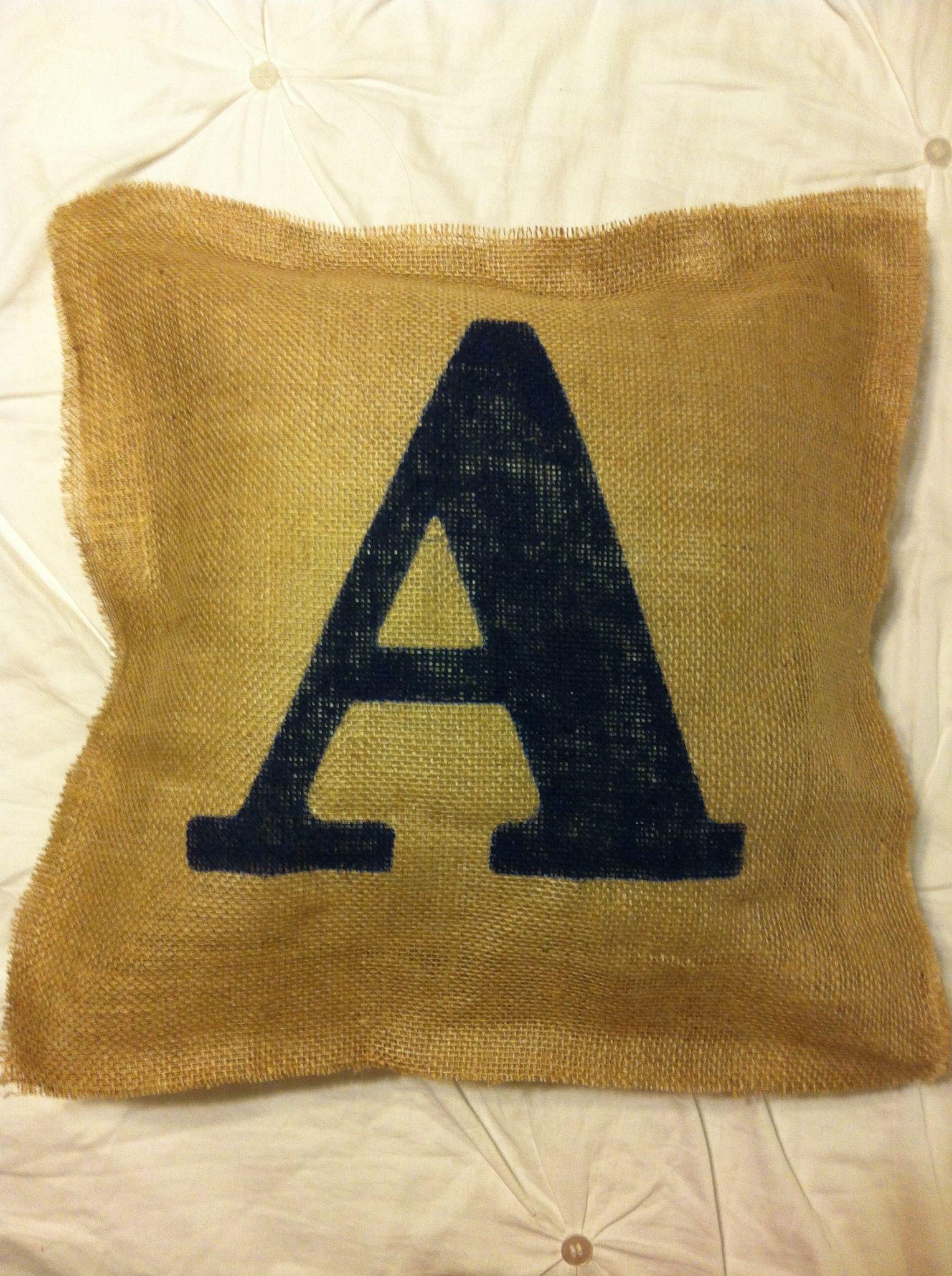 Burlap pillow, initial