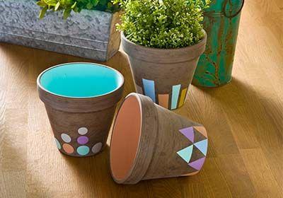 fall pastel clay pots diy crafts pots en argile peints argile bricolage. Black Bedroom Furniture Sets. Home Design Ideas