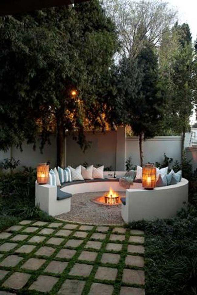 Bauen Runde Feuerstelle Bereich Fur Sommer Nachte Relaxen Feuerstelle Garten Garten Gartengestaltung