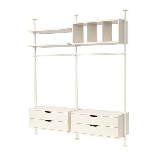 STOLMEN Hyllykokonaisuus IKEA Korkeus säädettävissä 210–330 cm, mikä mahdollistaa koko huonekorkeuden käytön. Voidaan kiinnittää kattoon tai seinään.