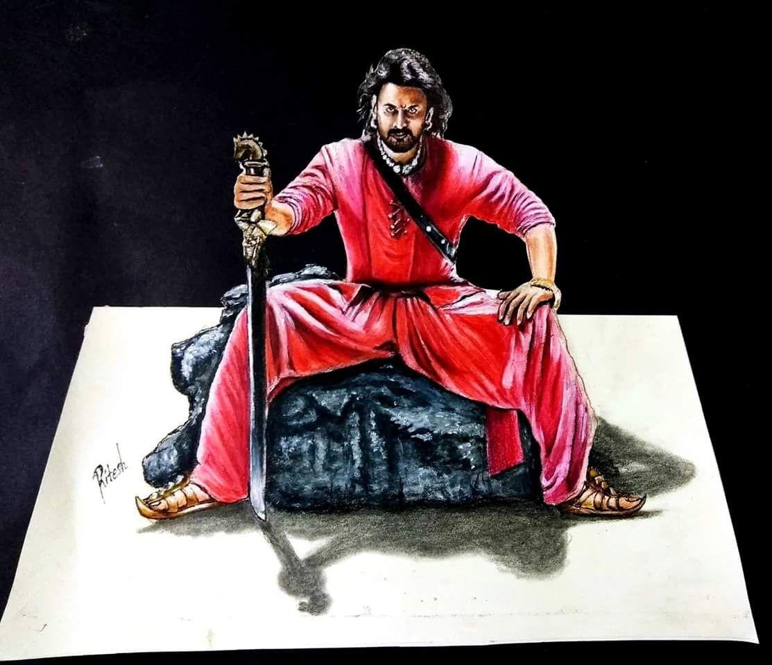 Bahubali 2 - Drawing Prabhas - 3D drawing of Prabhas ...