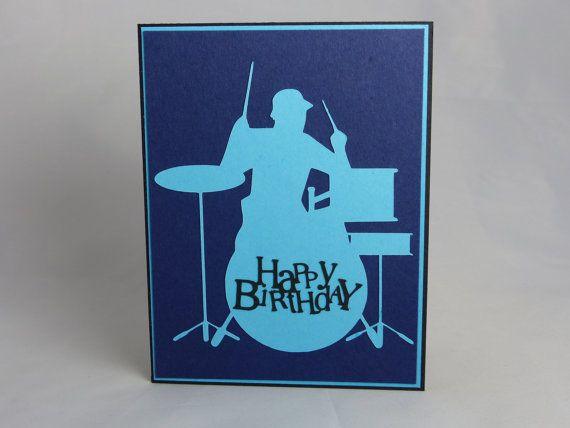 Handmade Birthday Greeting Card Drums Drummer Band Boy Teen Teenager Son Grandson Music