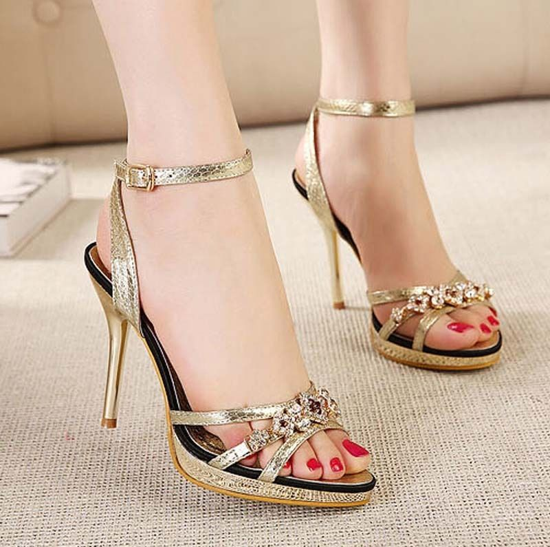 152720756455 Roman fashion handmade gold rhinestone stiletto sandals fish head women s  shoes
