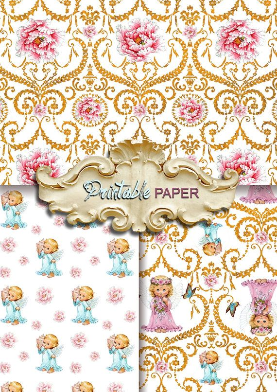 BABY ANGELs - 3 SHEETs Printable wrapping paper for Scrapbooking