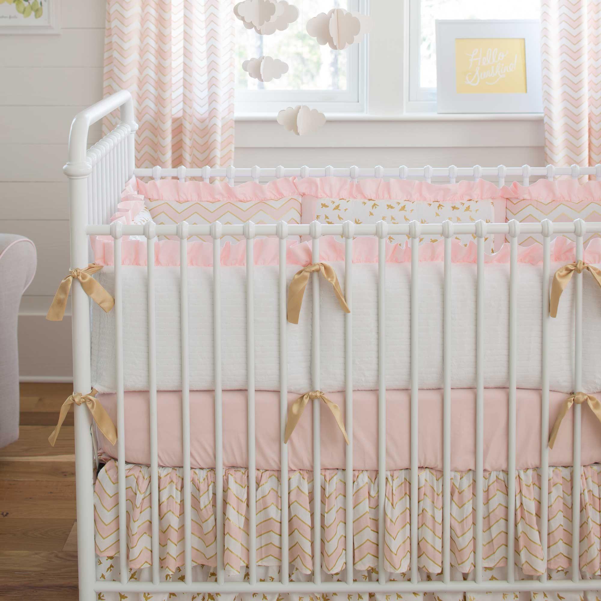 Pale Pink and Gold Chevron Crib Bumper Carousel designs Pale