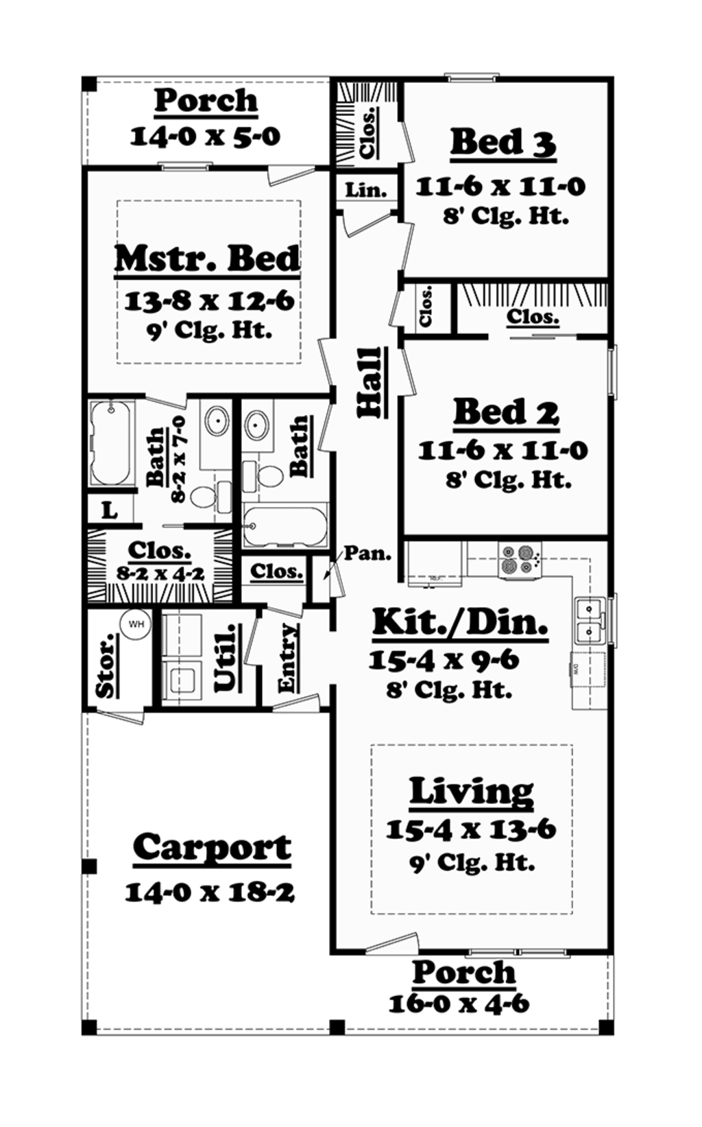 Traditional Style House Plan 3 Beds 2 Baths 1200 Sq Ft Plan 430
