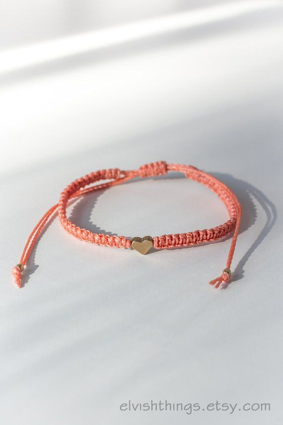 337fb82190861 Macrame bracelet Heart bracelet Friendship bracelet Long distance ...