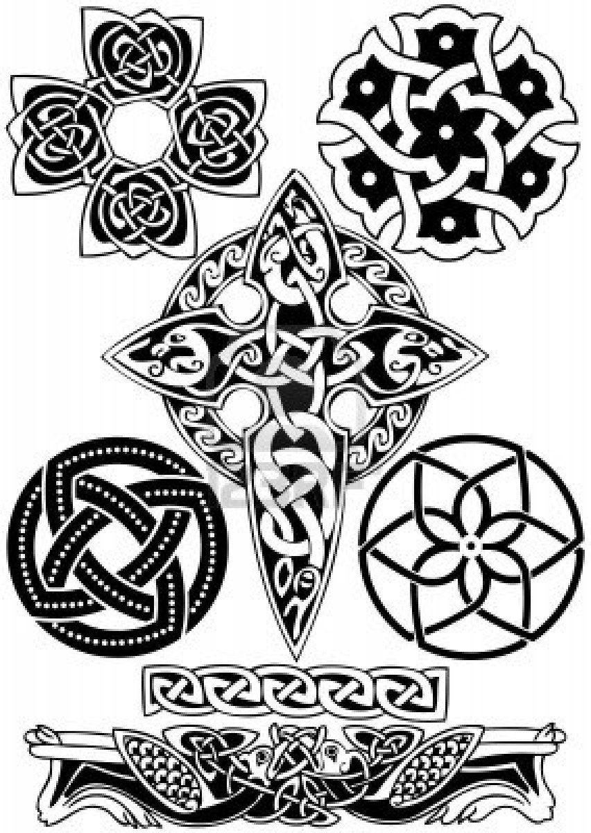Stock Vector Tatuaże Celtyckie Wzory I Szablony