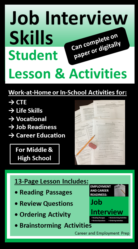 Job Interview Lesson Activities For Students Career Lessons Lessons Activities Interview Skills