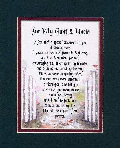 Amazoncom A Gift For An Aunt Uncle Touching 8x10 Poem Double
