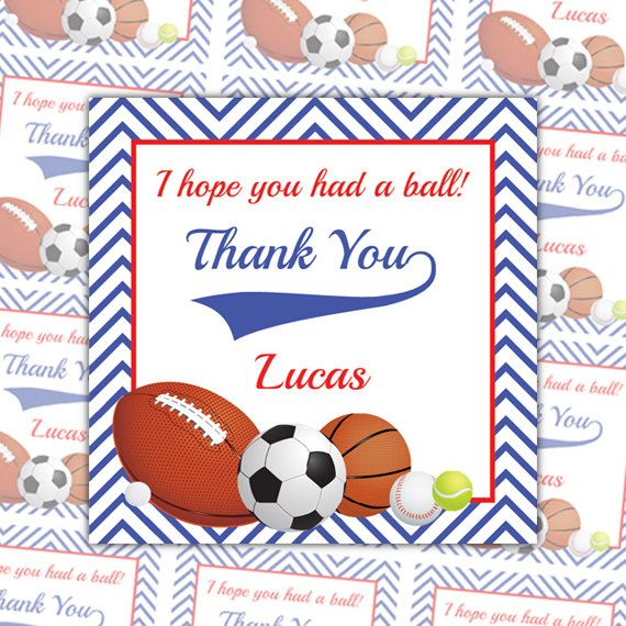 Printable sports party thank you tags personalized favor by quax send your sport fans home with a personalized thank you this listing if for a set of 12 personalized sport tags negle Gallery