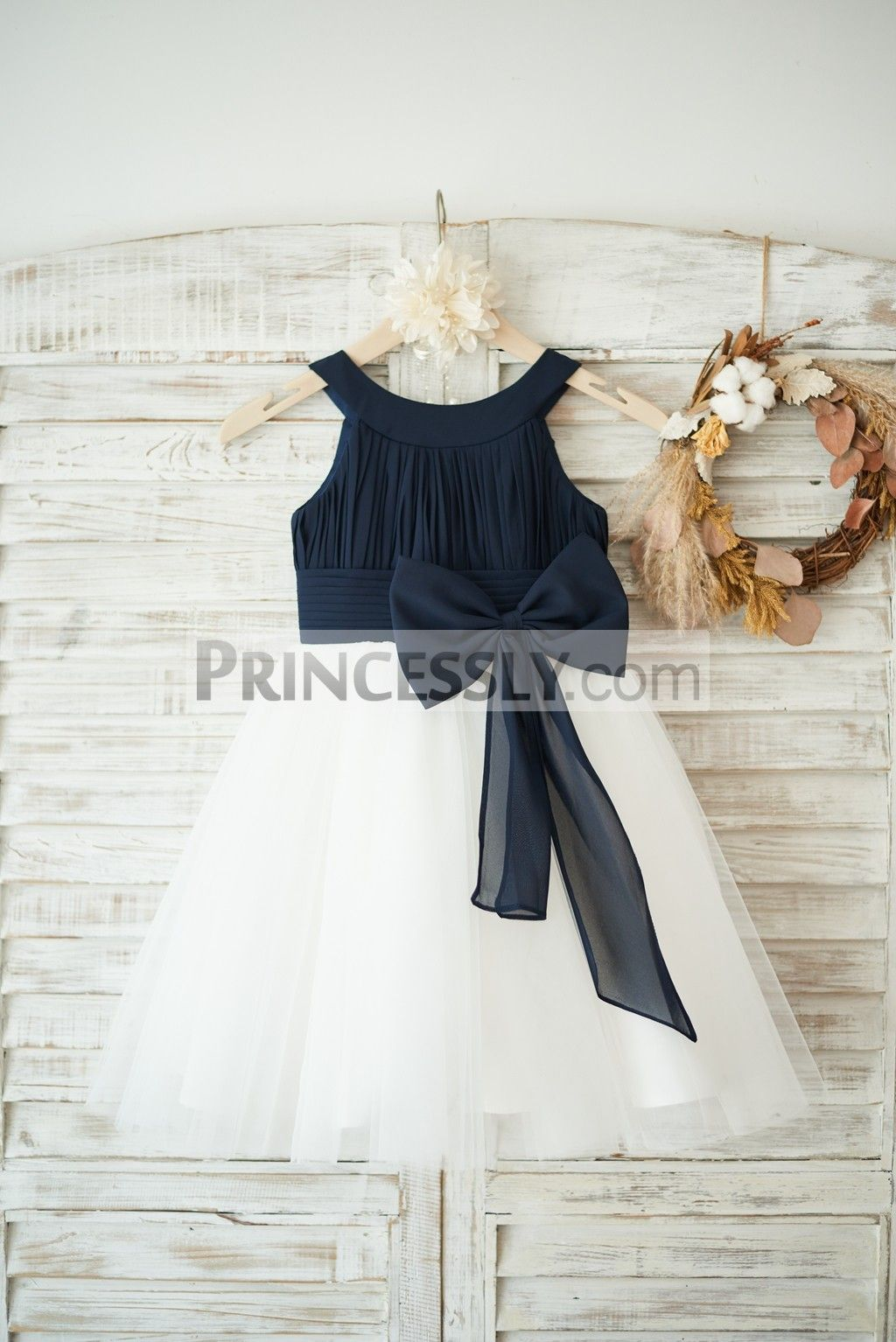 dfcac8f3f2f Princessly.com-K1003550-Navy Blue Chiffon Ivory Tulle Halter Neck Wedding  Flower Girl Dress with Bow-31