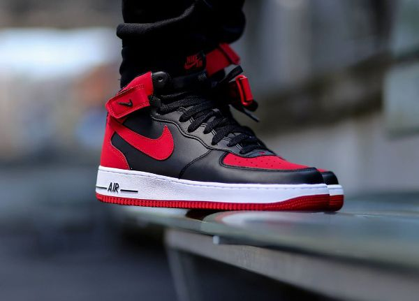 Nike Air Force 1 Mid Black Red 'Bred' (rouge et noir) (3) | Nike ...
