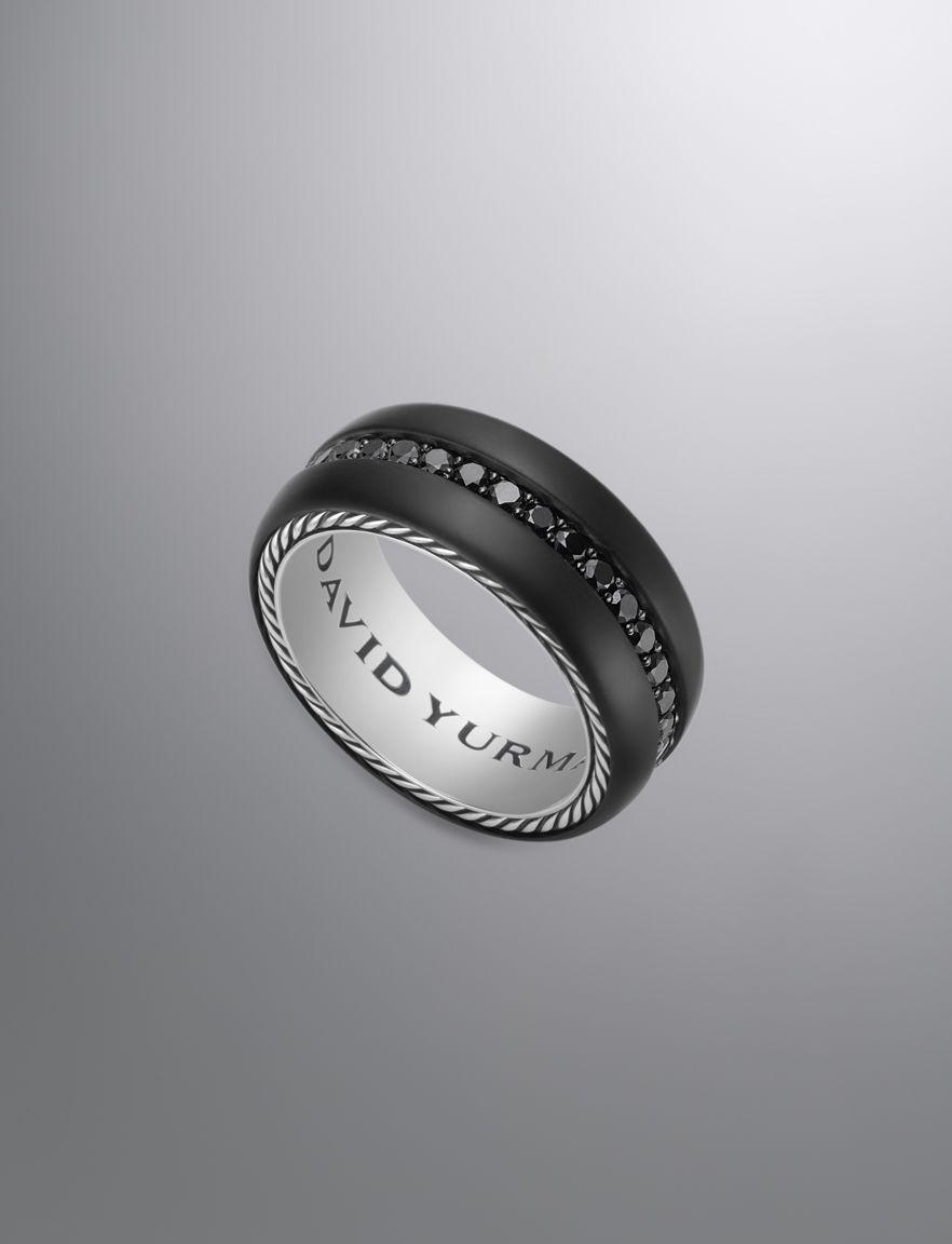 david yurman wedding rings David Yurman Black Diamond and Onyx Ring for Men