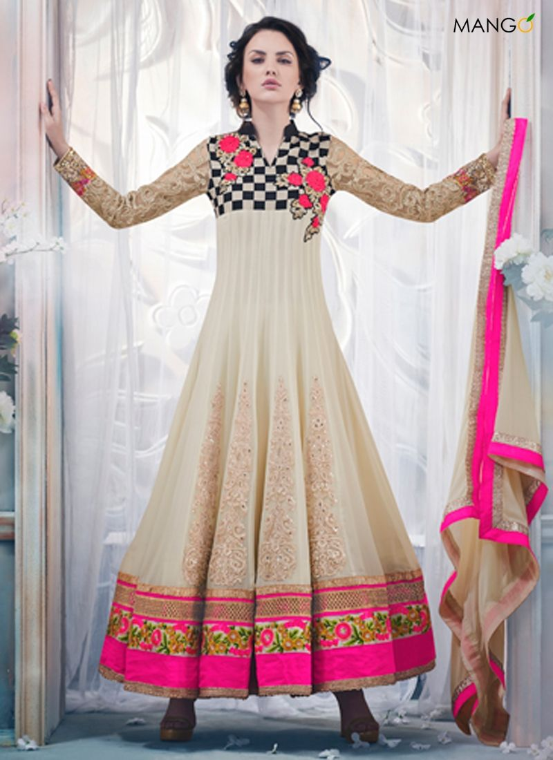 Competent cream georgette anarkali suit code price
