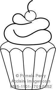 Frosted Cupcake Coloring Page