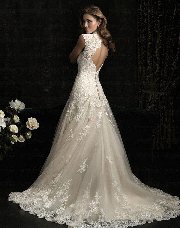 Deshe womenus sexy vneck lace wedding dress long mermaid