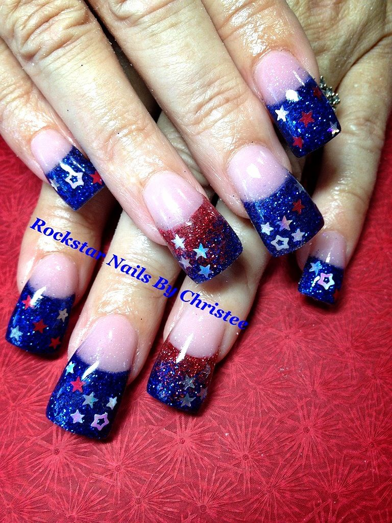 Rockstar Nails By Christee Inlays 4th Of July Acrylic Nails Nails