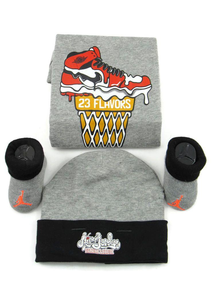 b2106a0fc 3 Piece Nike Gift Set 0-6 Mo Baby Shower Bodysuit Hat Booties Gray, 23  Flavors #Nike #babygifts #babygiftideas #babyboy #icecream