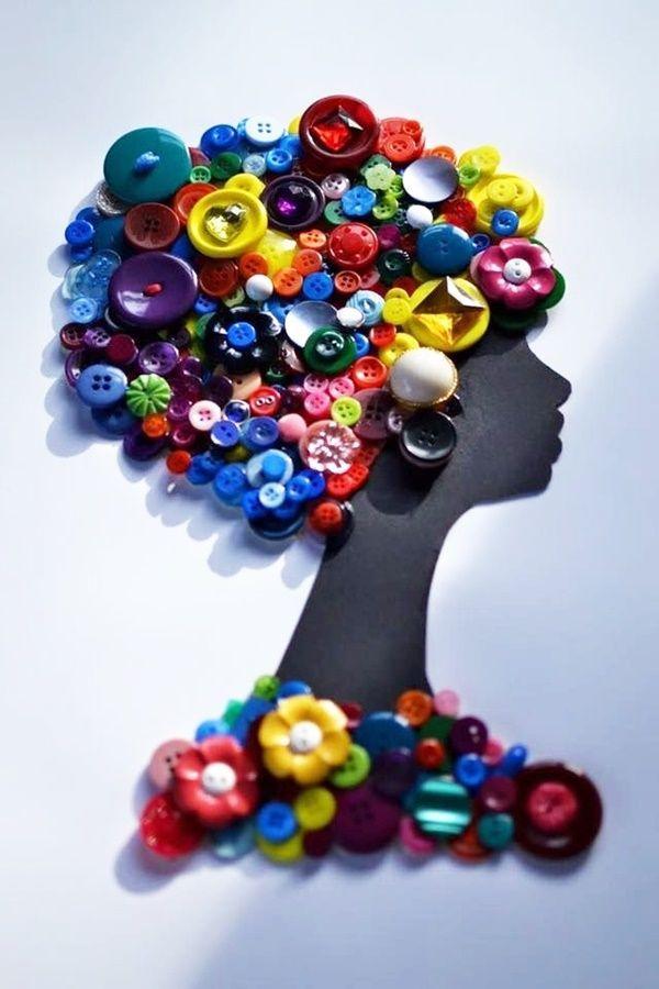 40 dekorative und brillante Button Kunst und Bastelideen #recycledart