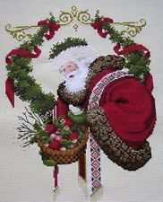"""Completed finished cross stitch """" THE GIFT OF PEACE SANTA """" No reserve price."""