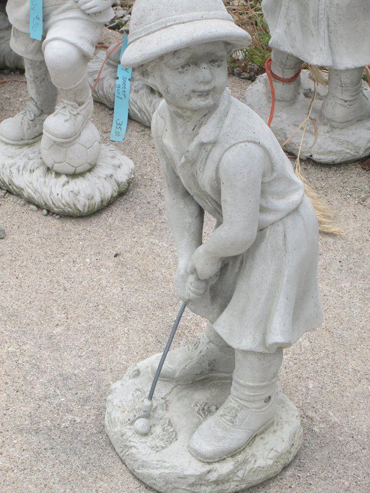 Boy Playing Golf Concrete Statues Garden Statues Statue 400 x 300