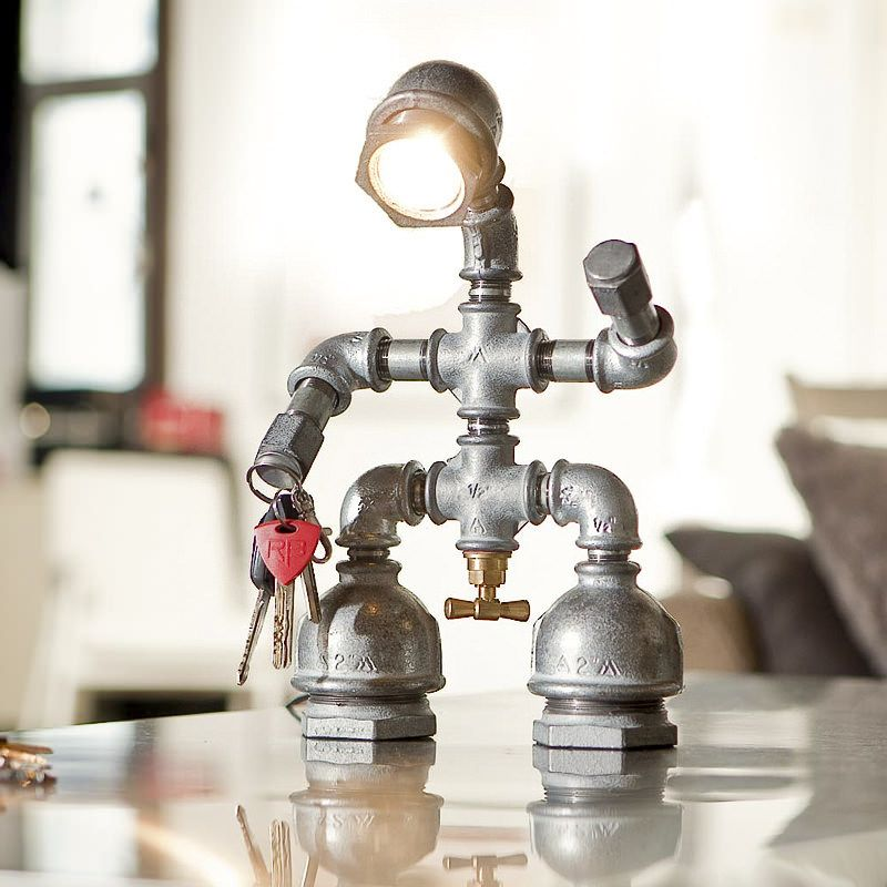 Modern Steel Tube Bedside Table Lamps