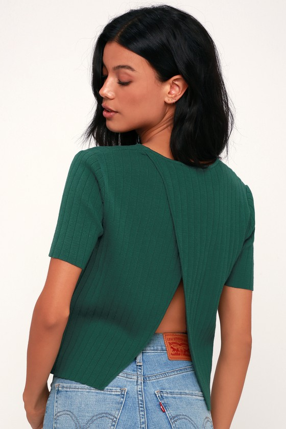 7a4692aaf1f7f2 Lulus | Casual Aesthetic Forest Green Ribbed Knit Split Back Sweater Top |  Size Large