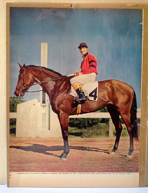 10x13 Color Print Race Horse Citation Jockey Arcaro Up Horses Thoroughbred Horse Racing Older Horses