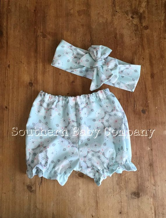 Pale Blue Spring Bloomers Ruffle Shorts Matching by SouthernBabyCo