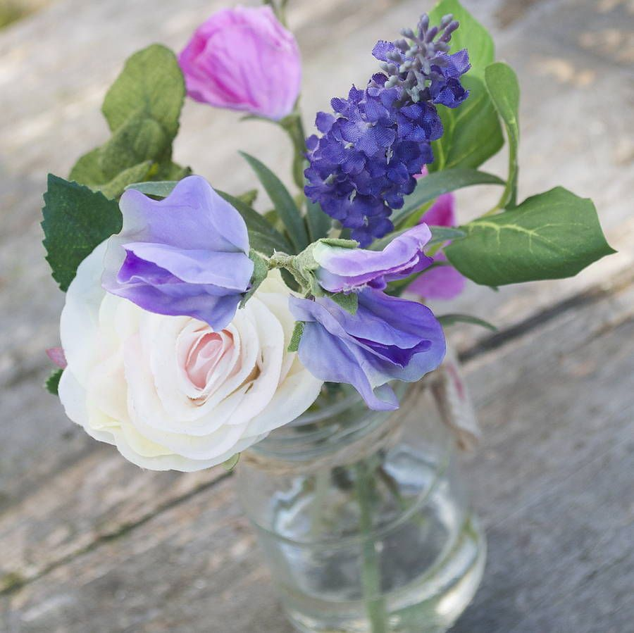 Rose And Sweet Peas Posy Bouquet Rose Bouquet Silk Flowers And Rose